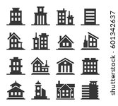 building icons set on white... | Shutterstock . vector #601342637