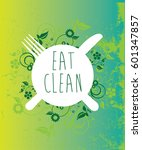 plate with eat clean message... | Shutterstock .eps vector #601347857