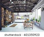 modern loft kitchen interior.... | Shutterstock . vector #601350923