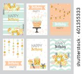 happy birthday card with golden ... | Shutterstock .eps vector #601355333