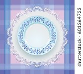 blue ornament. tableware. gzhel.... | Shutterstock .eps vector #601364723