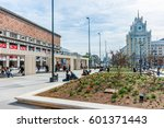 Small photo of MOSCOW, RUSSIA - APRIL 29, 2016: Triumphal square after reconstruction in 2013. New flowerbeds and swings. Tchaikovsky concert hall (left), four-star Beijing hotel (right in the background).