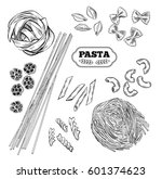 pasta vector. hand drawn... | Shutterstock .eps vector #601374623