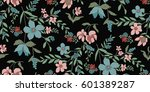 seamless floral pattern in... | Shutterstock .eps vector #601389287