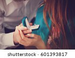 a young man makes a marriage... | Shutterstock . vector #601393817