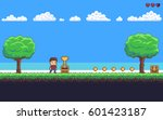 Pixel art game scene with ground, grass, trees, sky, clouds, character, coins, treasure chests and 8-bit heart | Shutterstock vector #601423187