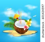 illustration exotic coconut...   Shutterstock .eps vector #601424597