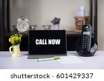 call now text on tablet ... | Shutterstock . vector #601429337