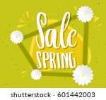 spring sale green poster. sale... | Shutterstock .eps vector #601442003