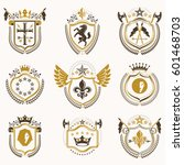 set of vector vintage emblems... | Shutterstock .eps vector #601468703