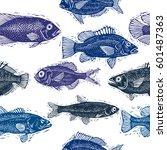 freshwater fish vector endless... | Shutterstock .eps vector #601487363