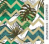 seamless tropical vector... | Shutterstock .eps vector #601539413