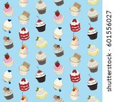 cupcake pattern on pastel... | Shutterstock . vector #601556027