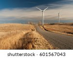 Small photo of Wind power generating stations in the rural Alberta prairies of Canada.