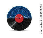 vinyl disk record with blue... | Shutterstock .eps vector #601583657