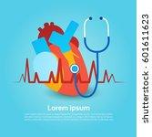 heart stethoscope health world...   Shutterstock .eps vector #601611623