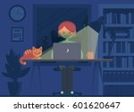 freelancer working at night... | Shutterstock .eps vector #601620647