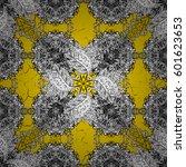 white pattern on yellow...   Shutterstock .eps vector #601623653