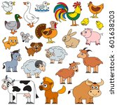 farm animals set in vector  the ... | Shutterstock .eps vector #601638203