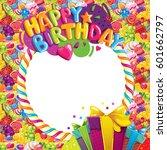 happy birthday color vector... | Shutterstock .eps vector #601662797