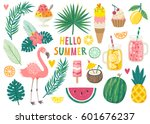 set of cute summer icons  food