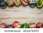 colorful egg in painting style... | Shutterstock . vector #601676393
