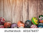 colorful egg in painting style... | Shutterstock . vector #601676657