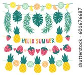 vector set of beautiful summer... | Shutterstock .eps vector #601676687