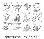 doodle mexican food  tequila ... | Shutterstock .eps vector #601677647
