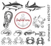 set of seafood icons isolated... | Shutterstock .eps vector #601679357