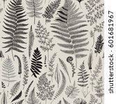 seamless pattern. ferns.... | Shutterstock .eps vector #601681967