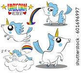 cute magic unicorn with blue... | Shutterstock .eps vector #601696997