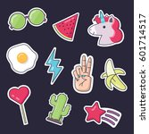 fashion patch badges. set of... | Shutterstock .eps vector #601714517