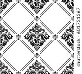 damask vector classic black and ... | Shutterstock .eps vector #601721267