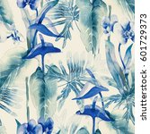 exotic flowers seamless pattern.... | Shutterstock . vector #601729373
