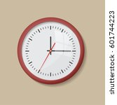 realistic round red wall clock... | Shutterstock .eps vector #601744223