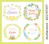happy easter hand drawn badge