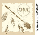 beautiful boho elements .... | Shutterstock .eps vector #601747817