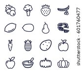 vegetarian icons set. set of 16 ... | Shutterstock .eps vector #601760477