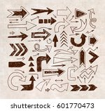 doodle sketch arrows on vintage ... | Shutterstock .eps vector #601770473
