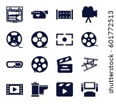 cinema icons set. set of 16... | Shutterstock .eps vector #601772513