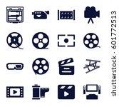 cinema icons set. set of 16... | Shutterstock .eps vector #601772513