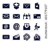 mail icons set. set of 16 mail... | Shutterstock .eps vector #601779107
