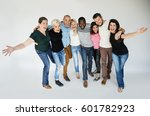 happiness group of people arms... | Shutterstock . vector #601782923