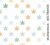 seamless pattern with cannabis... | Shutterstock .eps vector #601786433