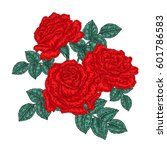 red roses flowers and leaves in ... | Shutterstock .eps vector #601786583