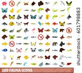 100 fauna icons set in flat... | Shutterstock .eps vector #601798883