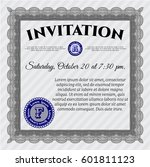 grey invitation template. with... | Shutterstock .eps vector #601811123