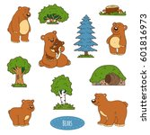 color set of cute animals and... | Shutterstock .eps vector #601816973