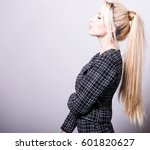 beautiful sexy blond woman pose ... | Shutterstock . vector #601820627